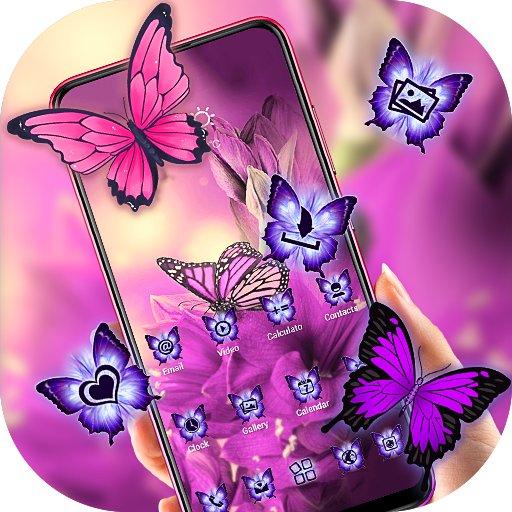 Beautiful Purple Butterfly Flower Theme 2019
