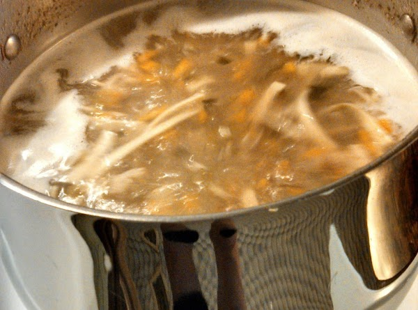 Drop into hot boiling broth and cook until tender.
