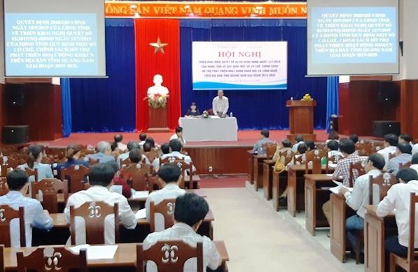 Quang cảnh hội nghị triển khai Nghị quyết 02/2019/NQ-HĐND của HĐND tỉnh Quảng Nam