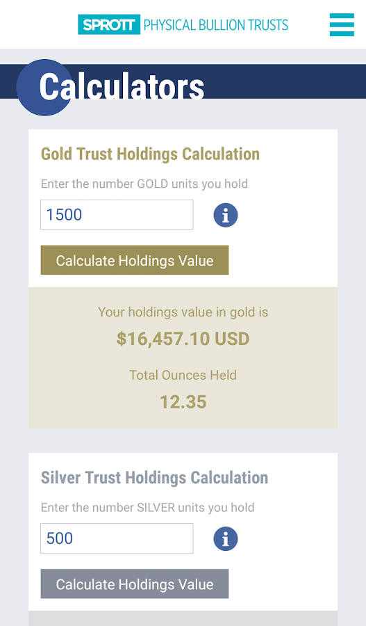 Sprott Bullion Tracker- screenshot
