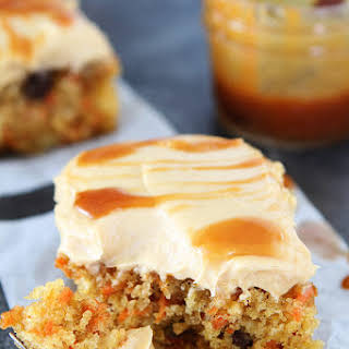 Easy Carrot Cake with Caramel Cream Cheese Frosting.
