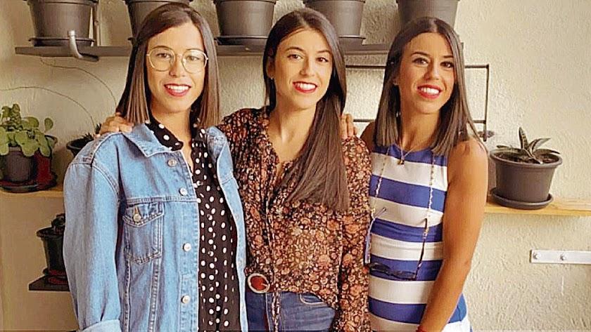 De izquierda a derecha, Miriam, Arancha y Rocío, las trillas Viruega