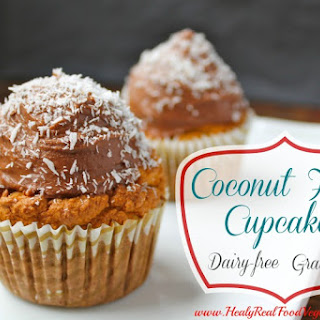 Coconut Flour Cupcakes with Chocolate Frosting (grain-free, dairy-free).
