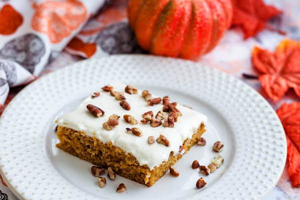 A Slice Of Cindy's Pumpkin Cake On A Plate.