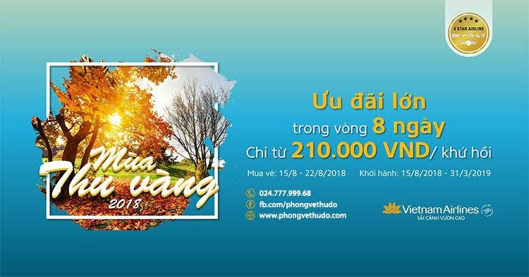 Vé máy bay khuyến mại - ưu đãi mùa thu vàng vietnam airlines