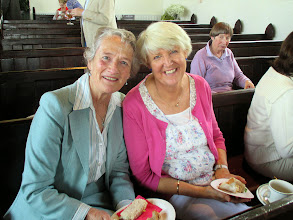 Photo: Thea Boyle, Sandra Brophy and Ronnie Shorten.  Looks to me like there was more eating than singing on that Clifden trip.  They're even eating in the church.