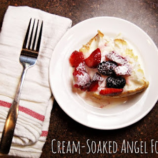 Cream Soaked Berry Angel Food Cake.