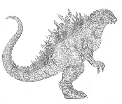 How to draw godzilla easily poster