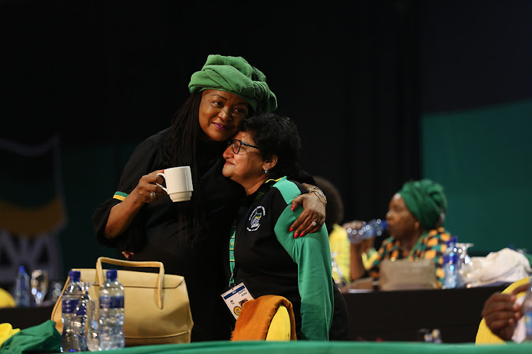 Baleka Mbete and Jessie Duarte embrace each before the announcement of who the Top 6 of the ANC are at the party's 54th Elective Conference at Nasrec in Johannesburg.