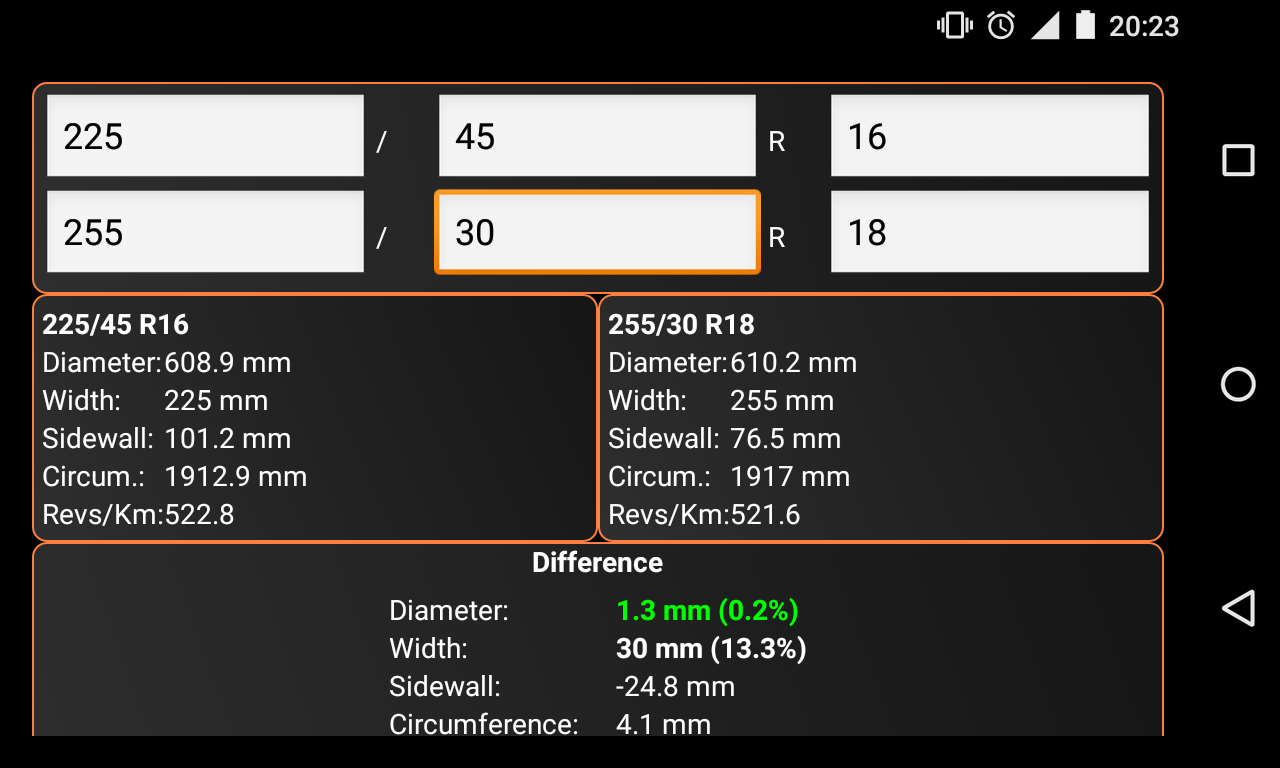 tyre size calculator android apps on google play