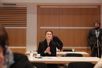 "Photo: Alyna Suslova watching the panle on ""Communicating Science & Innovations"" - 2012"