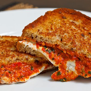 Grilled Goat Cheese and Roasted Red Pepper Pesto Sandwich Recipe