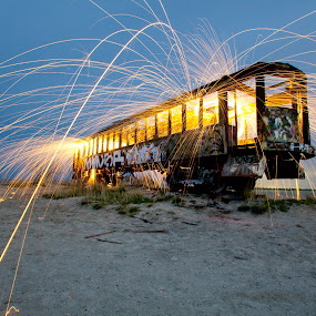 Crazy Train by Rusty Sessions - Artistic Objects Other Objects ( creative, art, salt lake city, fire, great horned owl, rusty sessions, bird, light painting, steel wool, night photography, utah, pwcflashes-dq, 801.941.5576, owl, train, long exposure, baby, sparks, temple of the birds, sidewinder media )