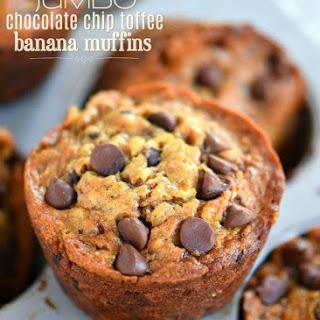 Jumbo Chocolate Chip Toffee Banana Muffins Recipe