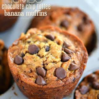 Jumbo Chocolate Chip Toffee Banana Muffins.