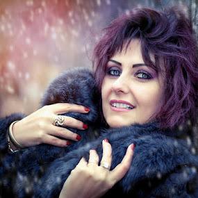 Wildlife by Alexandru Tache - People Portraits of Women ( love, model, sexy, wood, season, snow, white, wildlife, night, forest, light, women, eyes )