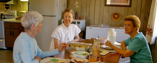 Photo: Srs. June & Genevieve and ASBS Gloria Van Brocklin share lunch and ideas at the Desert House of Prayer in St. Michaels, AZ..