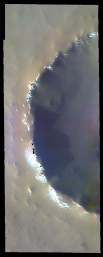 Dusty Crater In False Color