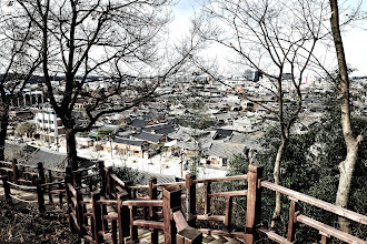 Photo: A view of the Hanok housing as we climbed up the stairs to Omokae.