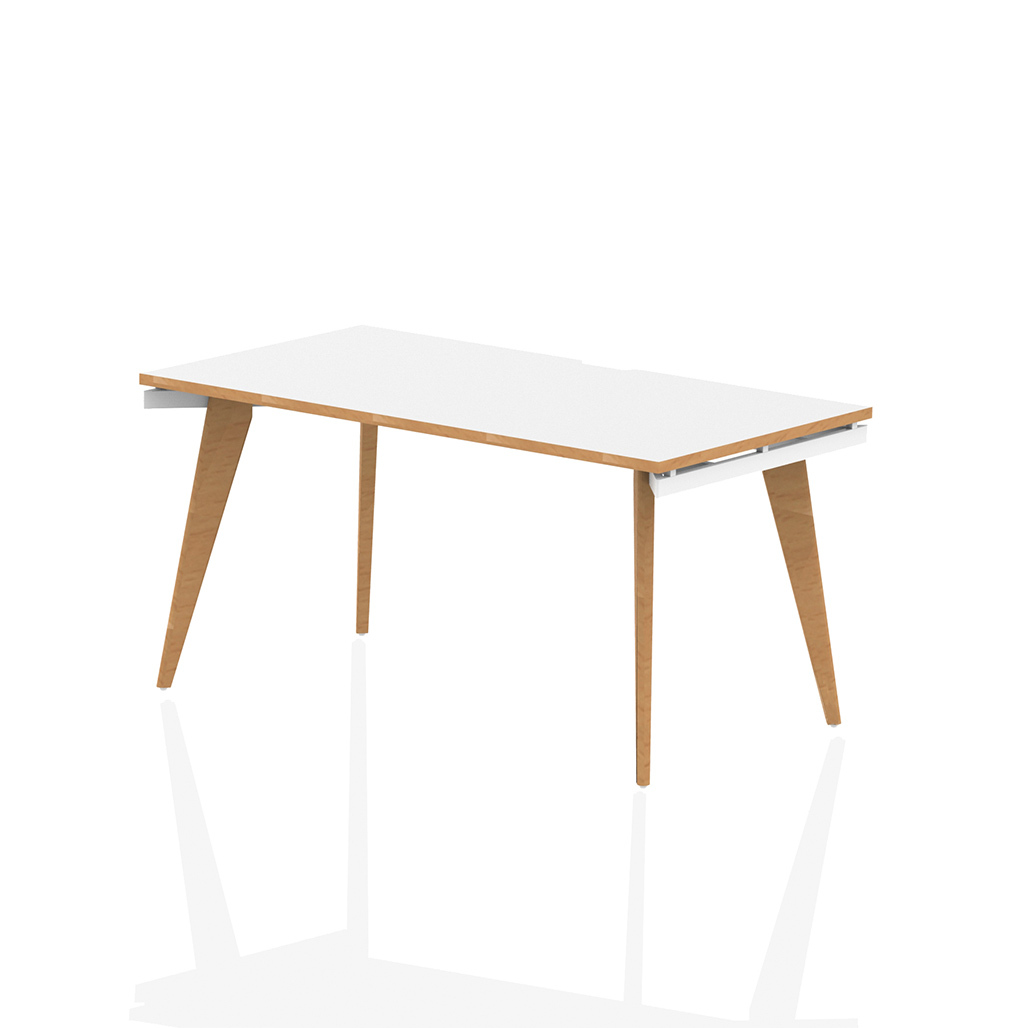 Oslo Single White A-Frame Bench Home Office Desk With Natural Wood Edge and Wooden Legs With Floor Levellers, including under desk support system for easy cable dumping.