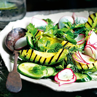 Matt Moran's grilled avocado with radish, cucumber and herb salad