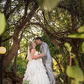 Forever by Giselle Hammond - Wedding Bride & Groom ( bride, nikon, couple, groom, forest, golden hour, wedding, trees, whimsical, posing )