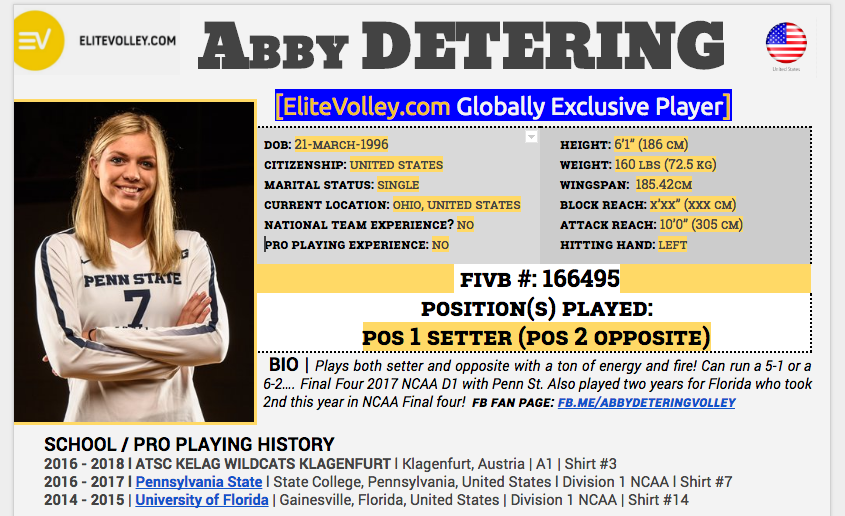 #EliteVolleyFAM Abby Detering of Penn State