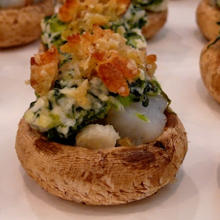 Shrimp Rockefeller Stuffed Mushrooms with Parmesan Crumbs