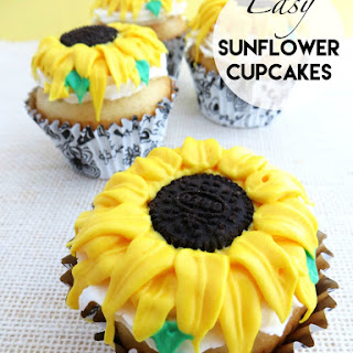 Easy Sunflower Cupcakes with Homemade Frosting
