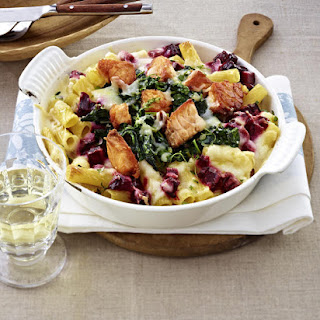 Baked Rigatoni with Salmon and Beets.