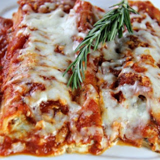 Manicotti with Italian Sausage and Cream Cheese Sauce.