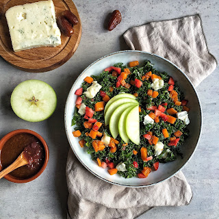 Kale, Gorgonzola, Butternut squash, Apple & Strawberry Salad with Date Vinaigrette