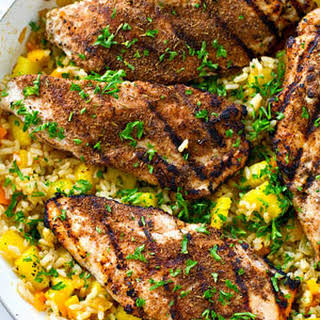 Jerk-Grilled Chicken with Pineapple Fried Rice.