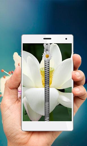 White Lotus Zipper Screen lock