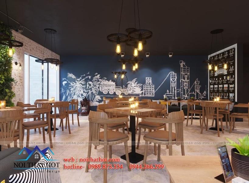 thiết kế quán cafe ấn tượng có điểm nhấn