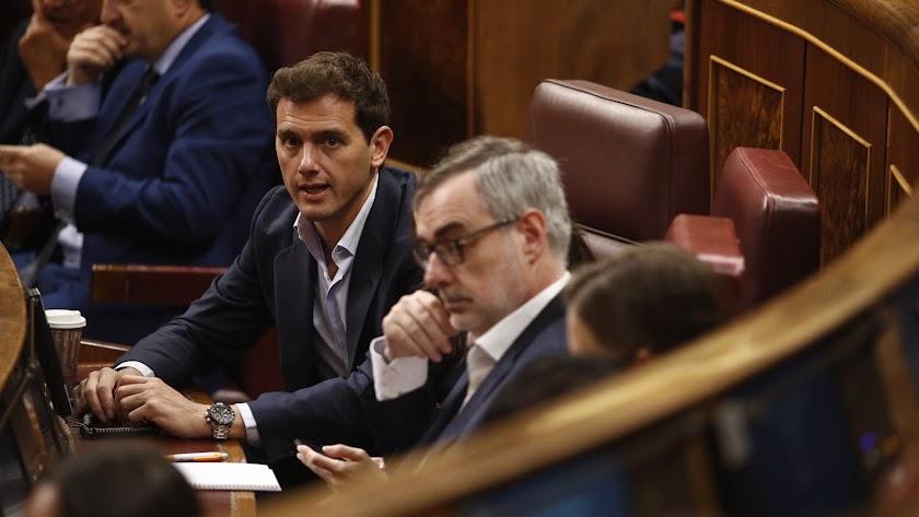 Albert Rivera y José Manuel Villegas, en el Congreso.