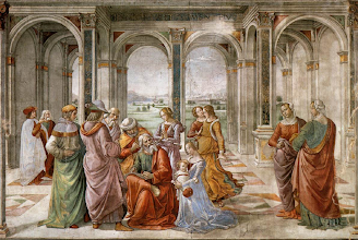 Photo: Image: Zechariah Writes John's Nameby Domenico Ghirlandaio (1490 Fresco in the Tornabuoni Chapel, Florence)  Zechariah was struck dumb because of his lack of faith, but when his son John was born, his speech returned. In joyous celebration he gave God praise for Jesus and the redemption He would bring.  The old prophet made these points:  1. God fulfilled His promises to David  2. God fulfilled His promises to Abraham  3. God fulfilled His promises to Zechariah, and to us  Message: He Redeems The World  O COME, O COME, EMMANUEL ~ Series: The Baby Who Changed The World ~ Message: He Redeems The World;https://sites.google.com/site/biblicalinspiration1/biblical-inspiration-1-now-thank-we-all-our-god-changed-by-worship-the-moody-church/biblical-inspiration-1-o-come-o-come-emmanuel-series-the-baby-who-changed-the-world-message-he-redeems-the-world-the-moody-church