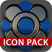 Black silver blue Icon Pack 3D