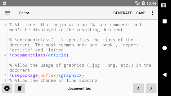 VerbTeX LaTeX Editor Screenshot
