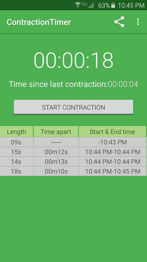Simple Contraction Timer- screenshot