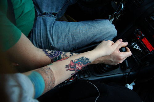 3. Driving stick shift.