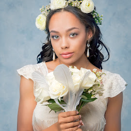 Going to the Chapel by Chuck Mason - People Portraits of Women ( bouquet, headshot, wedding dress, flowers, bride )