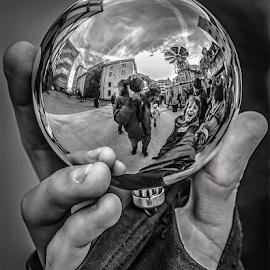 Little world! by Jesus Giraldo - Black & White Macro ( hand, concept, ball, art, street, glass )