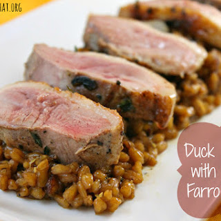 Duck Breasts with Cider-Farro Risotto.
