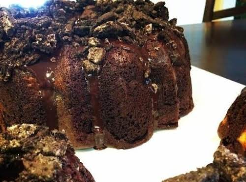 """Oreo Cookie Fudge Bundt Cake! """"Made this yesterday and it was very..."""