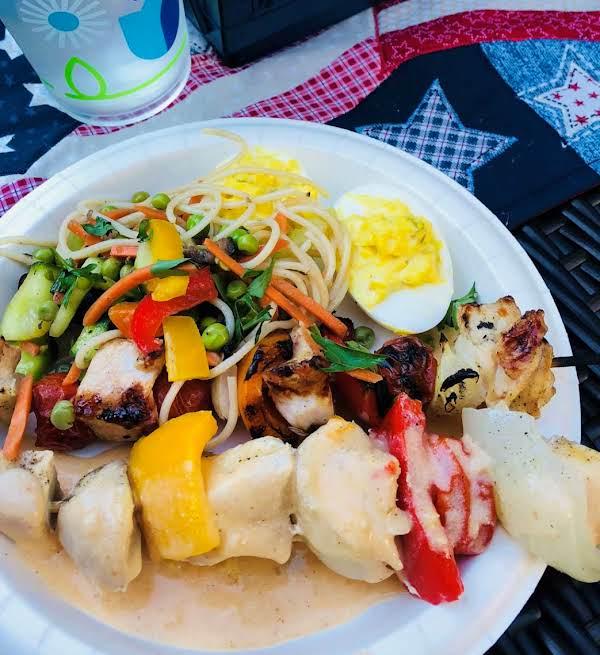 Chicken & Veggie Skewers W/thai Coconut Sauce