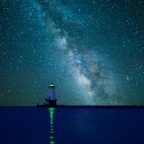 Lighthouse by Jeffrey Genova - Landscapes Starscapes ( water, milkyway, sky, blue, stars, lighthouse, lake,  )