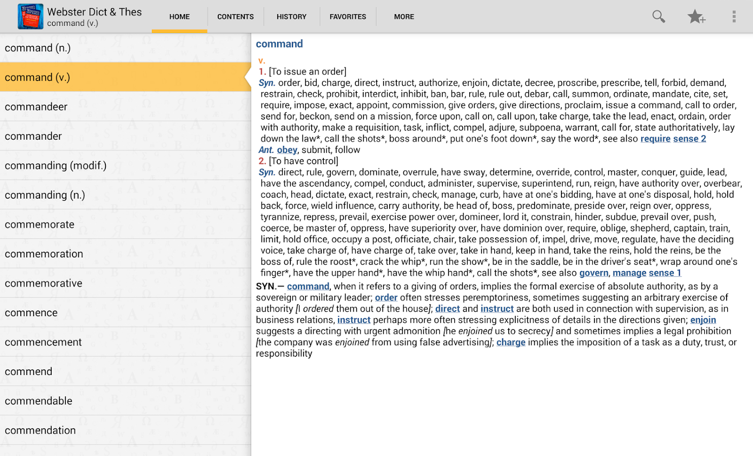 Webster's Dictionary+Thesaurus - screenshot