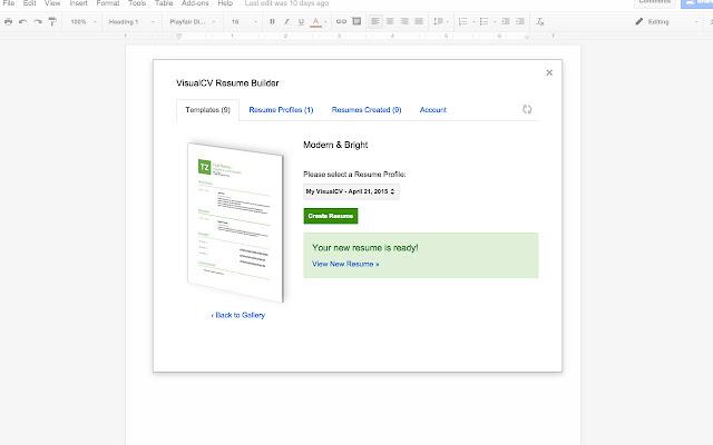 VisualCV Resume Builder Google Docs addon