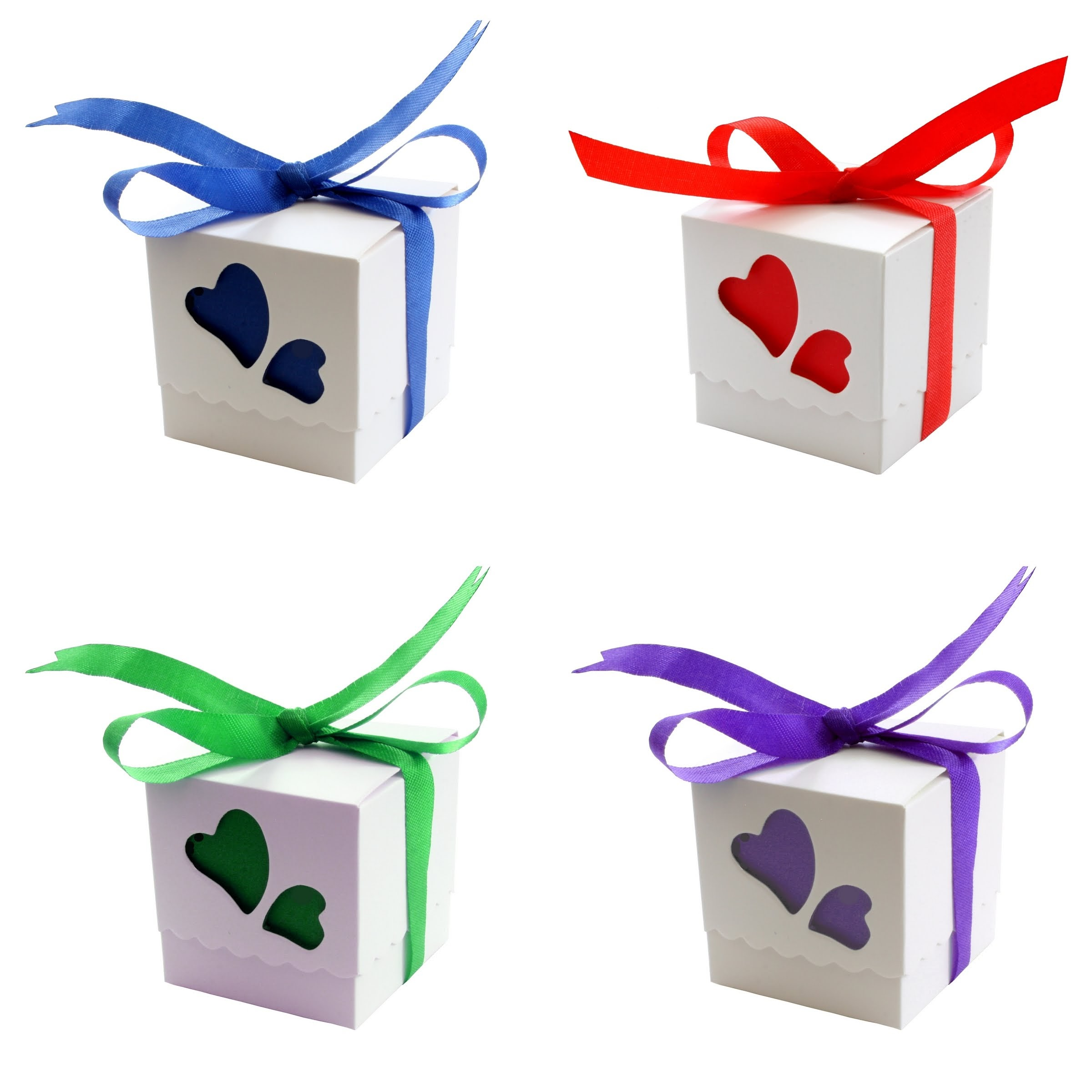 100 Love Heart Wedding Favour Boxes Party Sweets Boxes 10 Colours ...